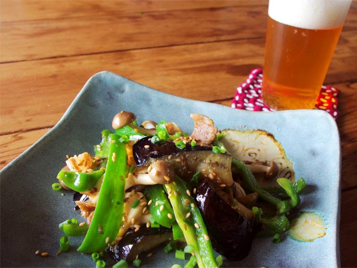 03話【ベジつまみ】いつもの野菜をビールのつまみにする、甘い味噌味の話|しめじとなす、ピーマンのしぎ焼き