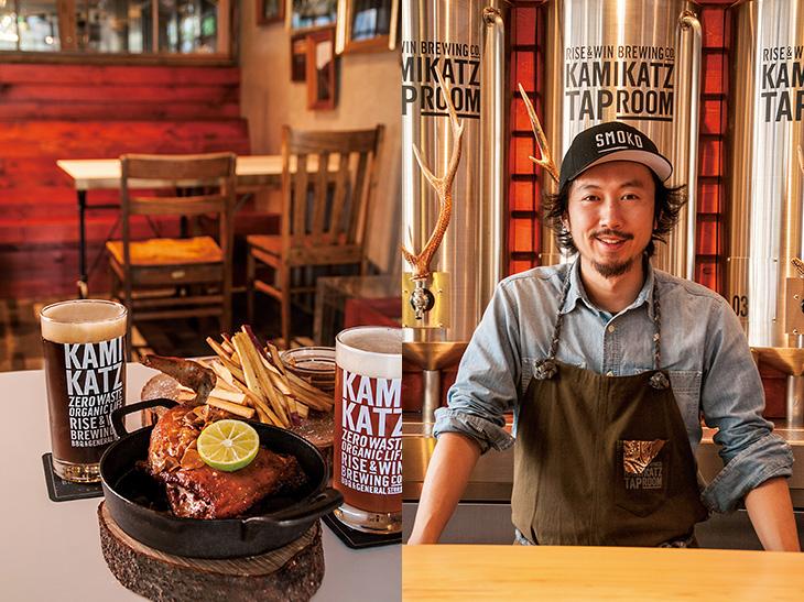 (左)「徳島産すだち鶏の骨つきBBQチキン」1,500円、「鳴門金時のフレンチフライ」700円。(右)スタッフの和田さん