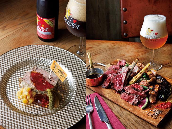 (左)「ウルビア」ボトルは1,330円。「デ・ドレ印のウルビアパテ」は「ウルビア」のジュレが添えてある。(右)「アラビア」1,100円はボリューム感ある味わい。「お任せお肉のグリル盛り合わせ3種」は3,000円。