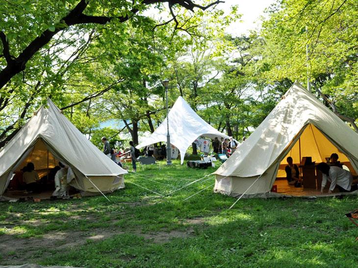 今春に開催された「二子玉川水辺茶会」の模様。