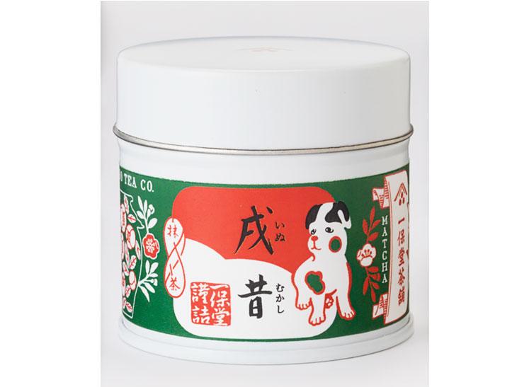 干支限定ラベル・戌昔(20g)1,944円(1月15日まで)。※新春用特別抹茶「若松の昔」「青雲」は1月31日まで販売。