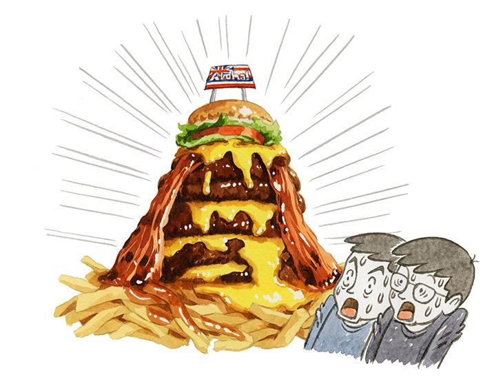 オレたちは総重量1kgの「巨大バーガー」を完食できるのか?|食楽中学生日記