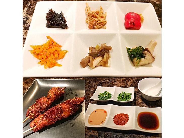 「串揚げ」(写真左下)はきのこに甘辛いタレがかかった一品。しゃぶしゃぶ用の薬味(写真右下)は、ゴマダレ、辛味パウダー、醤油ダレの3種類