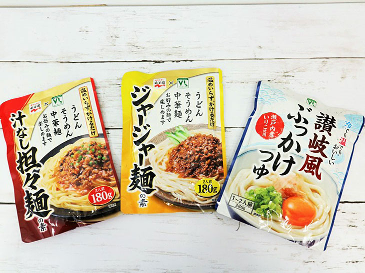 左から「VL汁なし担々麺」、「VLジャージャー麺」、「VL讃岐風ぶっかけつゆ」各108円