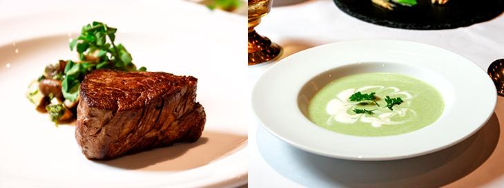 左「プライムフィレステーキ(200g)&木の子のオーブン焼き」(糖質:4.51g)、右「キャベツと豆乳のポタージュ」(糖質:6.1g)