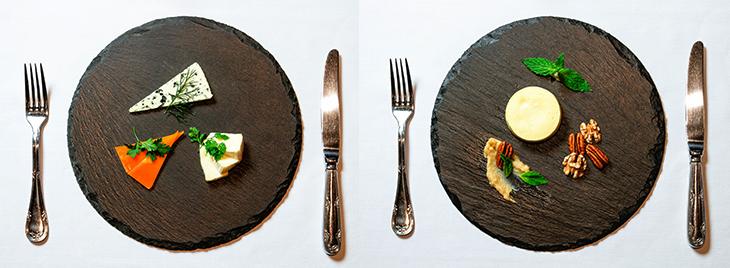 左「ナチュラルチーズ三種盛り合わせ」(ブールチーズ・ミモレット・カマンベールチーズ)(糖質:0.375g)、または右「糖質制限チーズケーキ(糖質:1.97g)