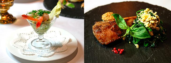 左「アヴォカドと甘海老のアミューズ」(糖質:1.46g)、右「ラムチョップステーキ&ほうれん草のスチーム粒マスタードの香り」(糖質:6.98g)