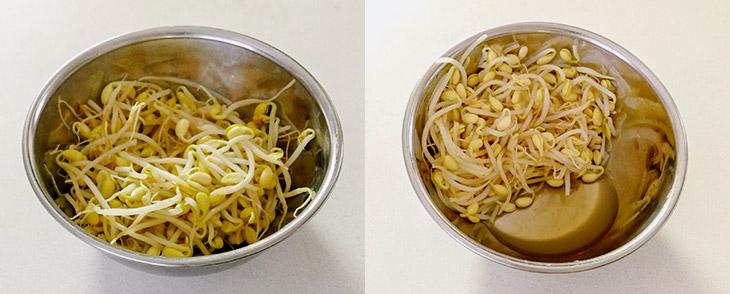 茹でてボウルに入れたもやし(写真左)と、温かいもやしにナンプラーを混ぜ、数分後に水分が出てきたところ(写真右)。この水分は捨ててください