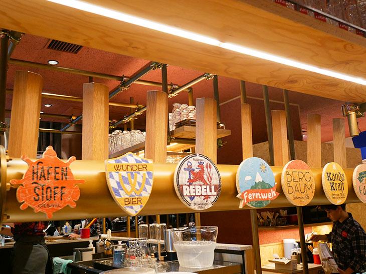 常時7種類のビールがオンタップ