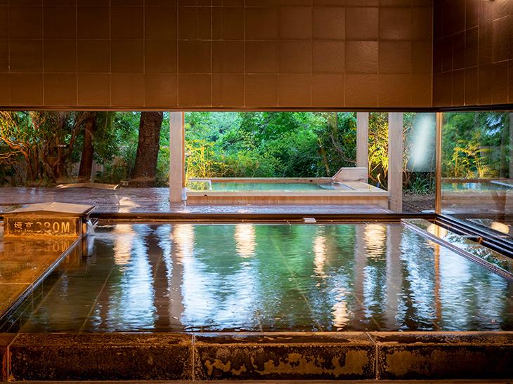 男女の大浴場は、どちらも源泉掛け流し。無色透明の内湯は強羅温泉から、硫黄泉の露天風呂は大涌谷温泉から引いている
