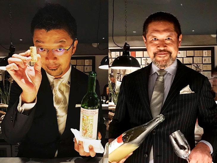写真左はイベント主役と言っても過言ではない、「オステリア エノテカ ダ・サスィーノ」オーナーシェフの笹森通彰さん。自家栽培の野菜で料理を作り、「ファットリア ダ・サスィーノ」レーベルで生ハム、チーズ、ワインを製造。そのワインは「2018年ジャパン・ワインチャレンジ」銅賞受賞など高い評価を得ている。 同じく強烈な存在感を放っていたのが、当夜のスーパーヘルプ・サービスマン、藤巻一臣さん(写真右)。劇場型コの字カウンター内には、料理、ワインとともに十分な役者が揃った夜だった