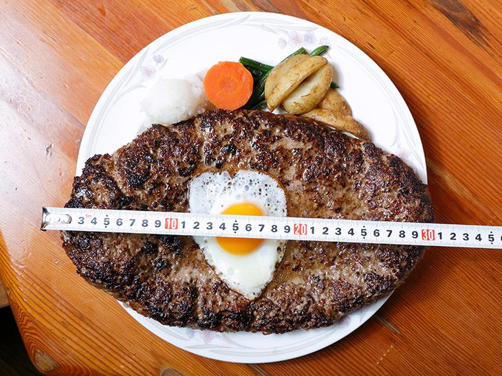 皿からはみ出る約33cm! 目玉焼きがウズラ卵みたいに見えます。「ハンバーグセット」+トッピングの目玉焼きでトータル7,450円