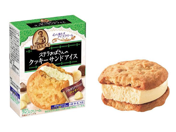 コンビニ限定! ごろごろマカダミアナッツが香ばしい「ステラおばさんのクッキーサンドアイス」