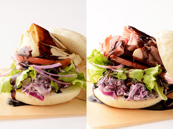 「湯葉チャーシューバーガー」450円(写真左)、「チャーシューバーガー」450円(写真右)