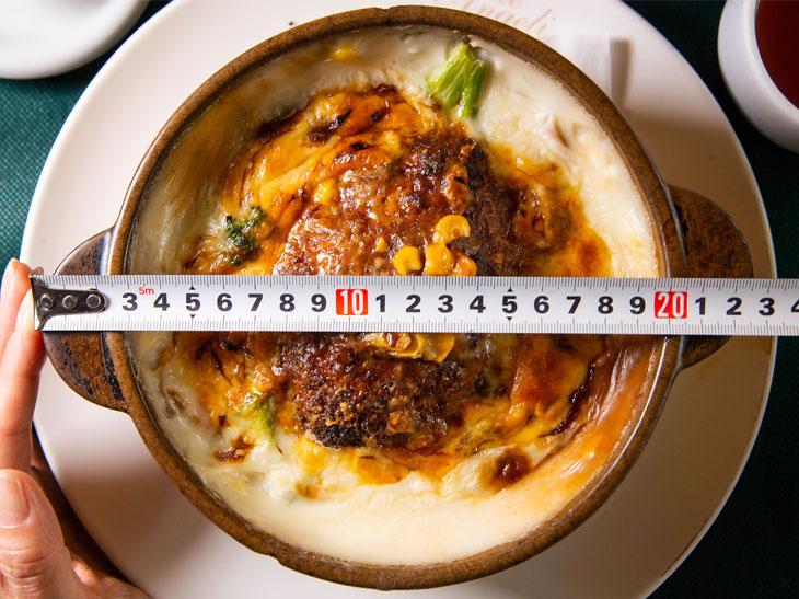 「ハンバーグドリア」大盛り1,330円。普通盛り1,180円にプラス150円。鍋の直径は約18cm