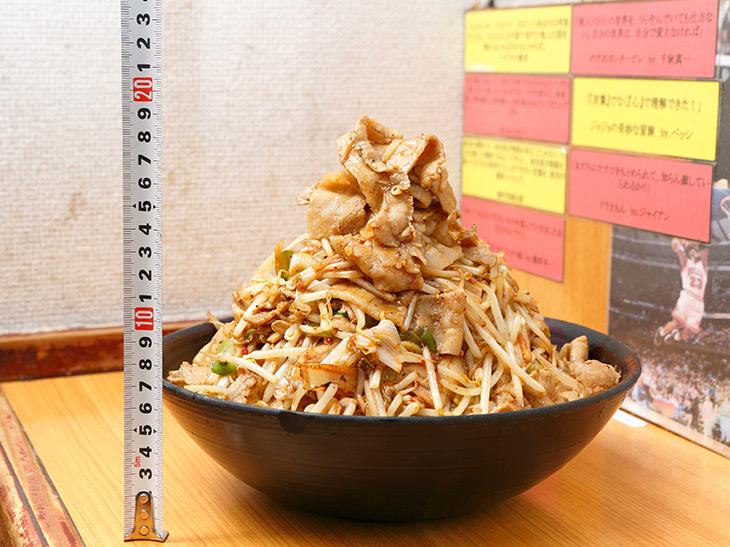 「豚キムチ丼・破壊王」1,390円。高さは約20cm。もやしなどの野菜の山の上に肉の頂上。素晴らしい眺めです