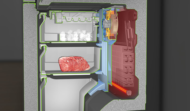 霜取り運転時はファンカバーを閉じて風路を遮断し暖気をブロックするアンチフロスト機能を搭載