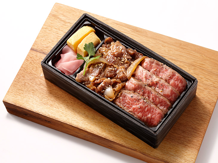 福岡市「ノダニク」博多和牛赤身ステーキ&焼肉弁当 2,268円/1折