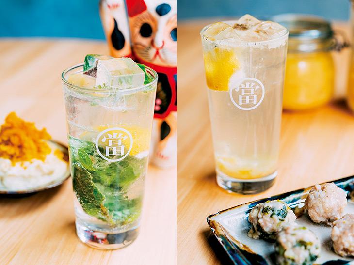 (左)沖縄直送バジルを使った「島バジルレモンサワー」580円。(右)「自家製塩レモンサワー」530円