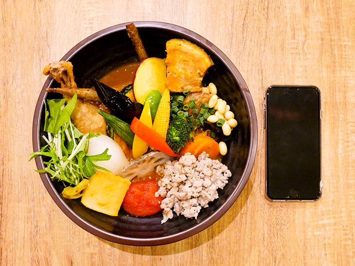 直径約21.5cmの器の中に20種の野菜や角煮、鶏モモなどが。とっても華やか!