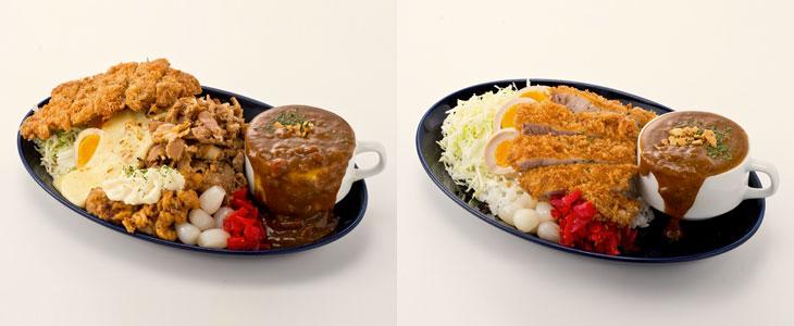 左「一撃MAXカレー」1350円。肉盛りはもちろん、チーズ、チキン南蛮、ロースかつをON! 右「一撃かつカレー」1150円は。肉盛りなし。一撃カレーにロースかつトッピング(+450円)とどっちにする?