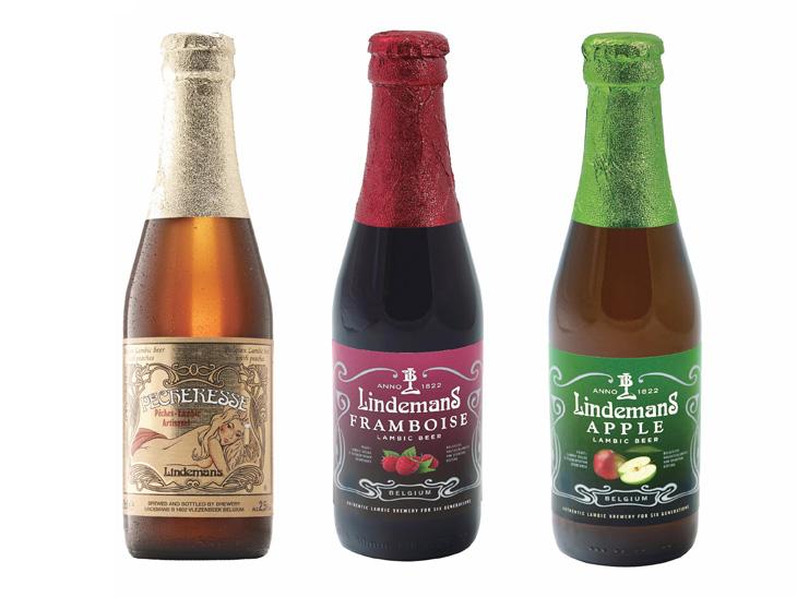 フルーツビール(リンデマンス)<フランボワーズ・ピーチ・アップル>各700円