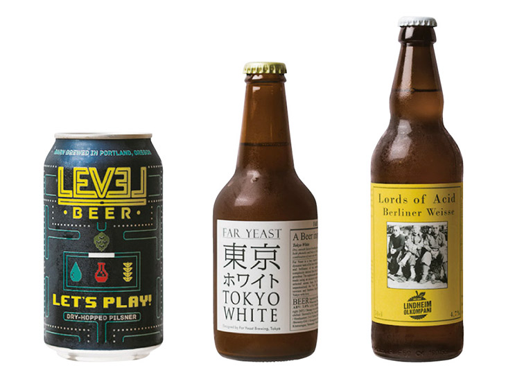 写真左/「LEVEL LET'S PLAY」(355 ml/ 640円)、中央/「FAR YEAST 東京ホワイト」(350ml/570円)、右/「LINDHEIM Lords of acid」(500ml/1340円)
