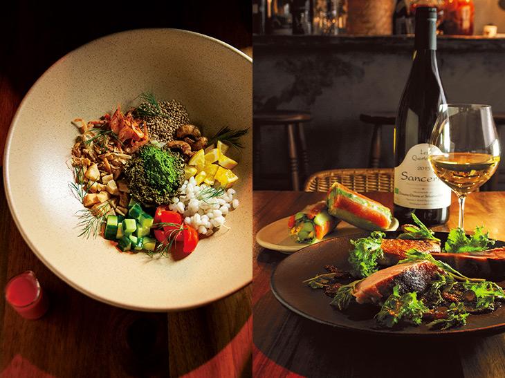 写真左/ミャンマー料理の「ラペトゥ」を再構築した「ティーリーフサラダ」。写真右/「鶏肉の炭火焼き ヨモギソース、レモングラスのラー油」(2600円)と「アスパラと鱒の生春巻き」(1200円)