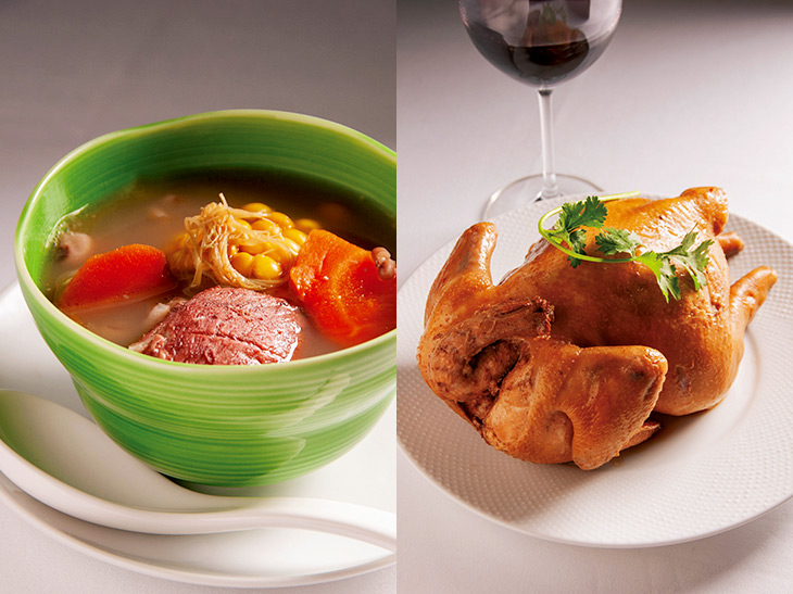写真左/様々な豆が入った「豆とポークのスープ」。写真右/「国産鶏の中華風醤油煮込み」。80~85℃の間で丸ごとじっくり火入れしたシグネチャーメニュー。いずれも1万5000円~のコースより