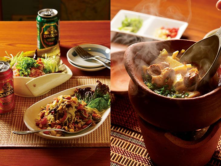写真左/手前から、ミャンマーの伝統料理でお茶の葉を使ったサラダ「ラペット」(850円)、発酵ソーセージ「ヌ・ソム・ムー」(800円)。写真右/豚肉と発酵竹の子の煮込み「ワッターミッチン」(1200円)