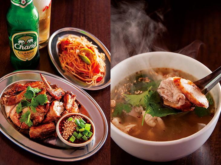 写真左/手前から、炭火でじっくり焼いた鶏肉「ガイヤーン」(800円)、辛さが選べる「田舎のソムタム」(650円)。写真右/酸っぱ辛いスープ「モツの透明なトムヤム(トムセープ)」(680円)