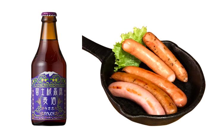 「自家製燻製ウインナー含む5種ウインナー盛り合わせ」&「富士桜高原ビール(燻製ビール)」