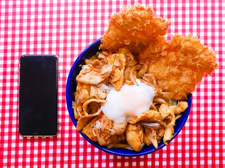 「スタミナ野郎丼にんにくミックス」850円(ご飯大盛無料)。肉と温泉卵しか見えません。たまらん!