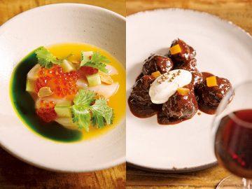 写真左/生のホタテとマリネしたイクラを、柑橘のソースやハーブのオイル、ピーナッツと食する「ホタテとイクラ」(1400円)。写真右/「豚のほっぺた」(2600円)は、赤ワインとチョコレートで煮込んだ頬肉