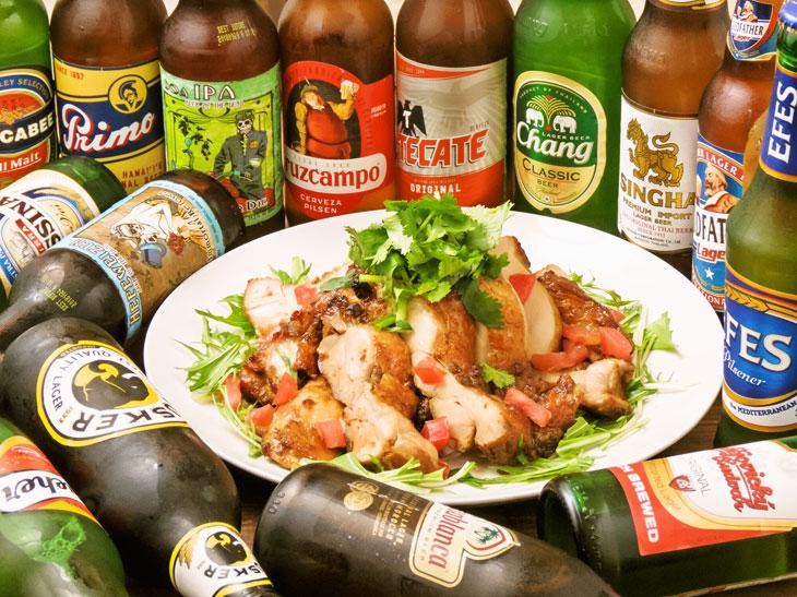 40種類の海外ビール飲み放題(120分制)と人気の旅ノリ料理11品(5000円/税込)