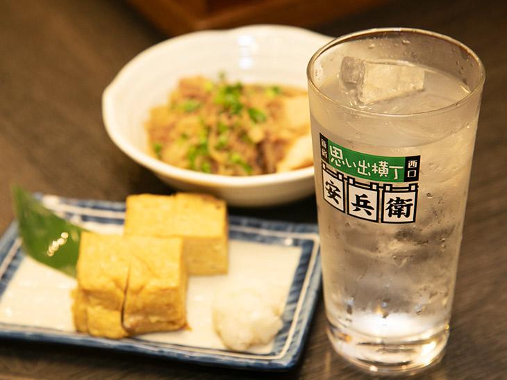 「玉子焼き」と「肉豆腐」に「芋かのか華やかすっきり仕立て」(水割り)をペアリング