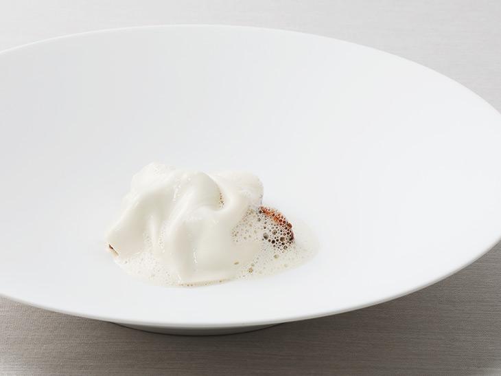 """「""""もっと薄くできないの?""""豆乳、ベーコン、かぼちゃ」(リオネル)まるでサテン生地のような豆乳のヴェールのドレープも美しく、その下にはジロール茸とヘーゼルナッツが隠れている。貴婦人のような一皿"""