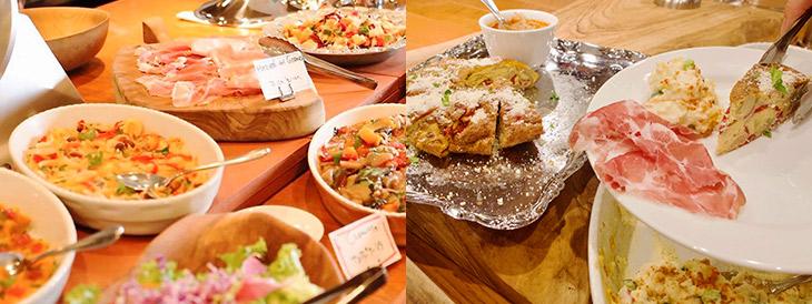 オープンキッチンのカウンターに並ぶ前菜。平日は常時8種、土・日曜は10種。メニュー、品数は日によって異なります
