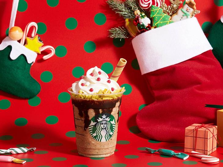 ポテチ×チョコレートがクセになる! スタバにクリスマス限定「サンタブーツ チョコレート フラペチーノ」が登場