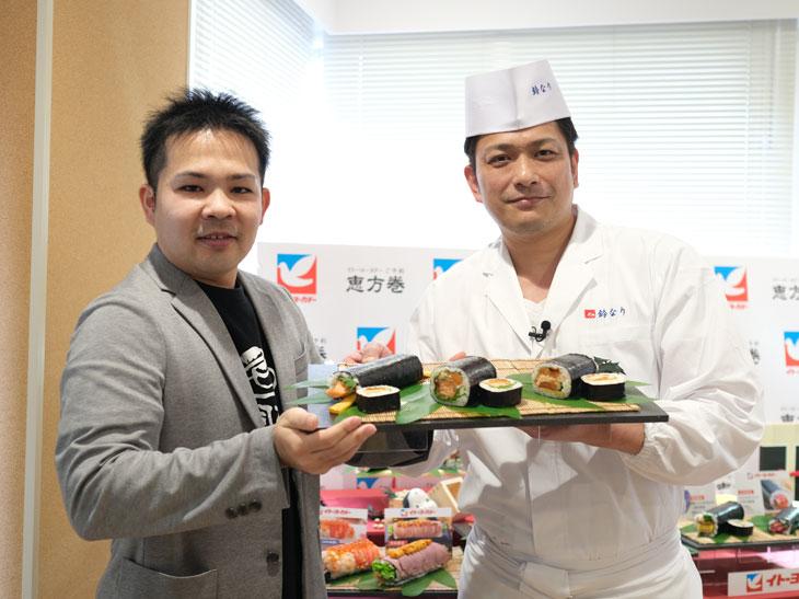 (左)全日本サーモン協会代表のサーモン中尾氏、(右)「季旬鈴なり」店主の村田明彦氏