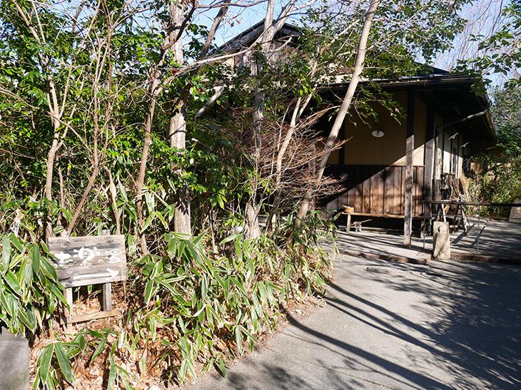 木に囲まれた平屋の木造建築でできた『志楽の湯』
