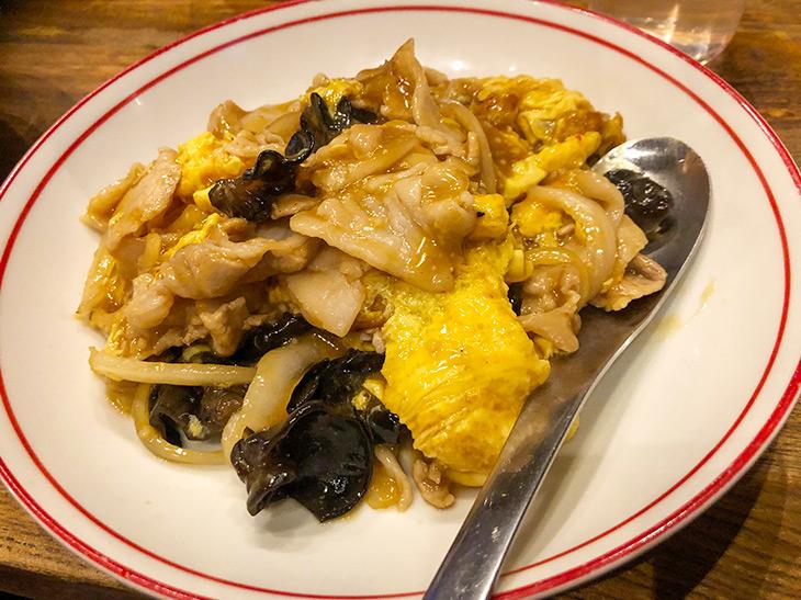 豚肉とキクラゲ、ふわふわ卵がからまる絶品「木耳玉子」単品650円