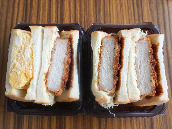 左が「三元豚の厚切カツ&タマゴサンド」(399円)、右が「三元豚の厚切カツサンド」(399円)