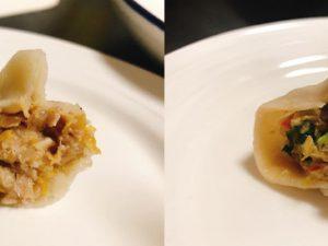 (左)羊肉と発酵白菜 (右)羊肉と小松菜