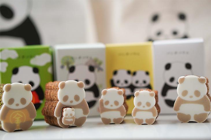 左から金太郎パンダ(抹茶味)、親子パンダ(キャラメル味)、きょうだいパンダ(イチゴ風味)、ベーシックなパンダ(プレーン)。