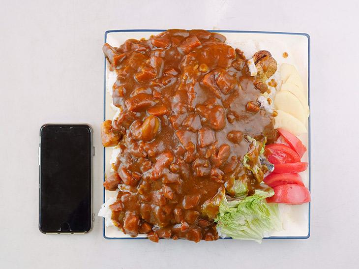 「カレーライス」特盛450円。26cm四方のお皿たっぷりに盛られてワンコイン以下! 小鉢付き