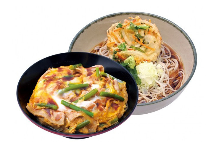「豚肉とニンニクの芽のスタミナ丼セット(そば・うどん)」650円