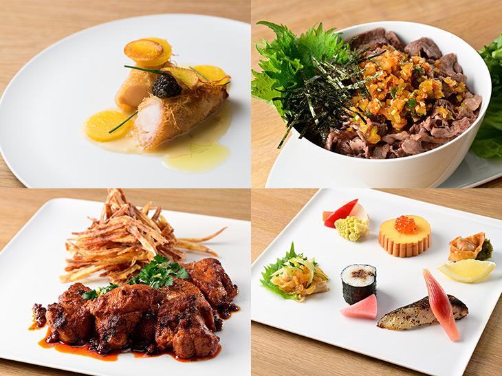 """左上から時計回りに、『Restaurant Sola』の「リバーワイルド・桃豚の燻製と緑野菜」、『よろにく』の「よだれ牛丼とミニサラダ」、『La BOMBANCE』の「La BOMBANCE特製日本酒のつまみ」、『Arroceria La Panza』の「イベリコ豚のスパイシー焼き""""ソルサ""""」"""
