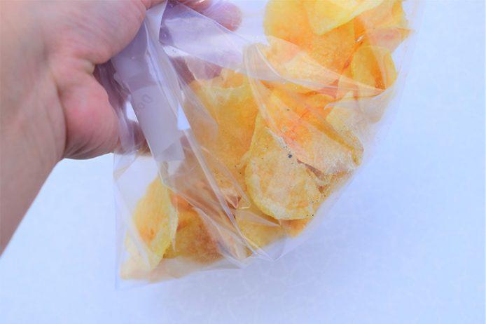 袋の中でシェイクするとまんべんなく味が行き渡り、手も汚れません