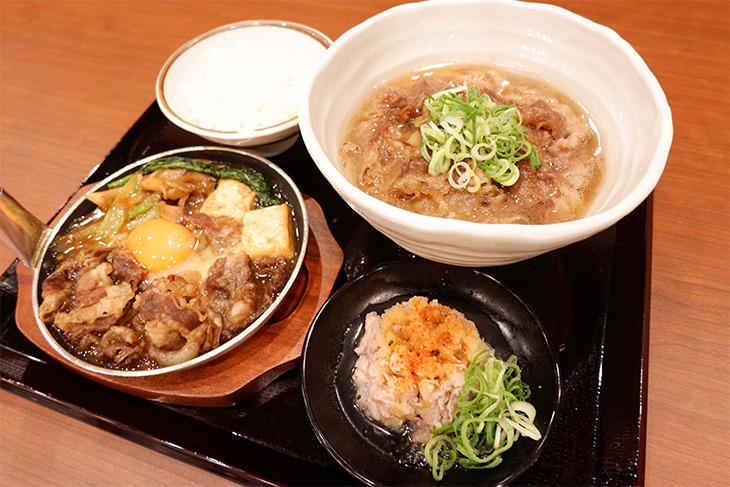 「神戸牛づくし膳」(1618円)は1日限定4食。内容は白ごはん、神戸牛うどん(かけorぶっかけ)、神戸牛すき焼き、神戸牛おろし和えがセットになっています